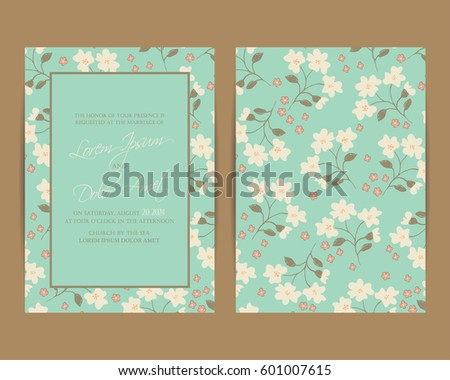 Invitation background stock images royalty free images vectors wedding invitation floral background vintage style size 5 x 7 stopboris Image collections