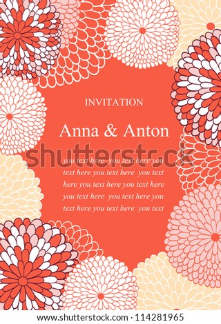 Wedding invitation.Floral romantic vector background in pink. Frame with flowers and text.