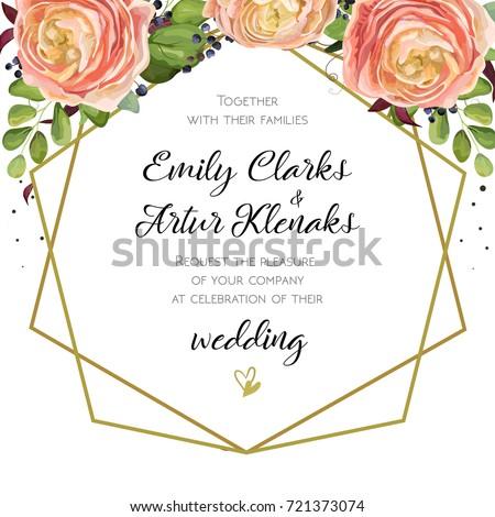 Wedding invitation floral watercolor invite card stock vector wedding invitation floral watercolor invite card stock vector 721373074 shutterstock stopboris Image collections