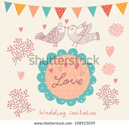 Wedding invitation. Flower pattern - stock vector