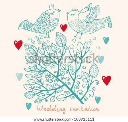 Wedding invitation. Flower pattern - stock vector