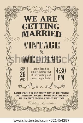 Wedding invitation frame vintage border vector illustration - stock vector