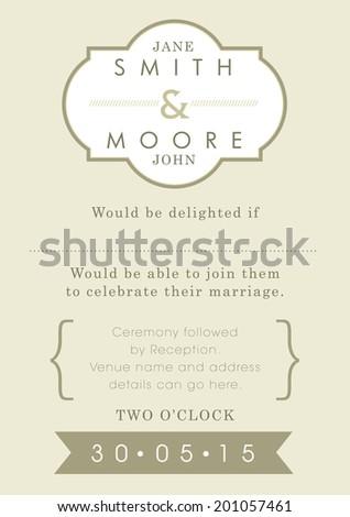Wedding invitation gold ribbon theme - stock vector