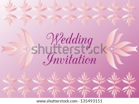 Wedding invitation in light pink and violet with ornaments and text - stock vector