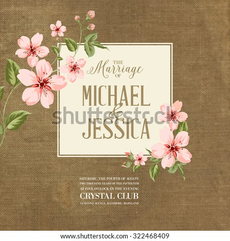 Wedding invitation on fabric background. Spring flowers. Cherry blossom.  - stock vector