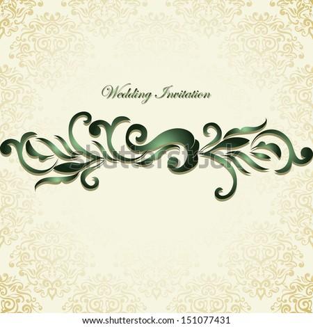 Wedding invitation on golden background  - stock vector
