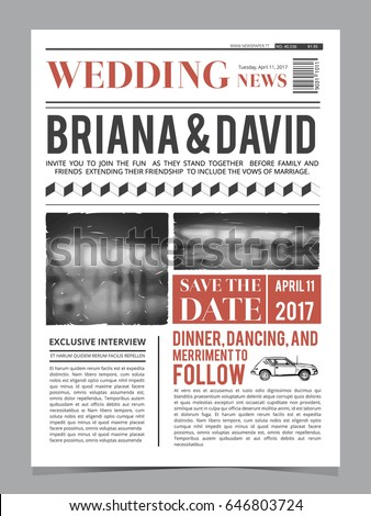 Wedding Invitation On Newspaper Front Page Stock Vector 646803724