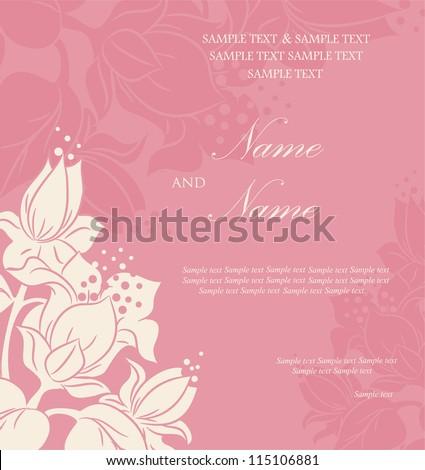 Wedding invitation or announcement - stock vector
