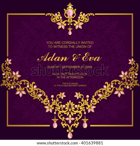 Wedding invitation or card with abstract background. Islam, Arabic, Indian. - stock vector