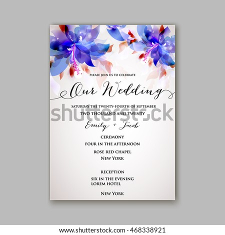 Wedding invitation or card with floral chrysanthemum