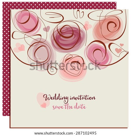 Wedding invitation or greeting card, abstract roses in trendy colors - stock vector