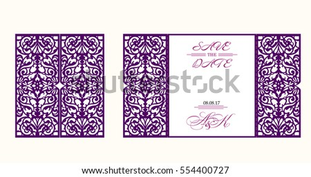 Wedding invitation greeting card abstract ornament stock vector wedding invitation or greeting card with abstract ornament vector envelope template for laser cutting stopboris Images