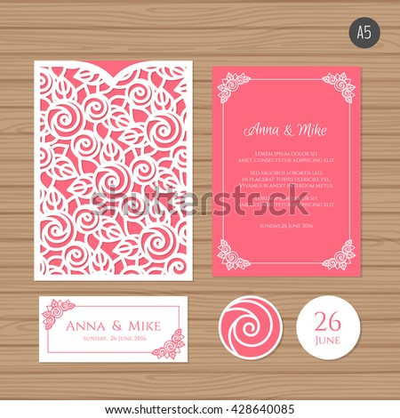 Wedding invitation or greeting card with floral ornament. Paper lace envelope template. Wedding invitation envelope mock-up for laser cutting. Vector illustration. - stock vector