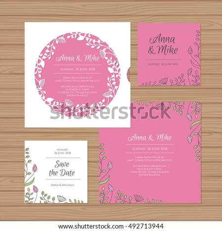Wedding invitation greeting card flower wreath stock vector wedding invitation or greeting card with flower wreath cut laser square envelope template invitation stopboris Gallery