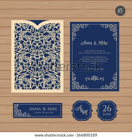 Wedding invitation or greeting card with vintage ornament. Paper lace envelope template. Wedding invitation envelope mock-up for laser cutting. Vector illustration. - stock vector
