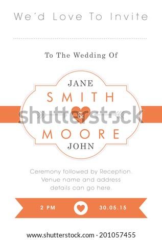 Wedding invitation orange style - stock vector