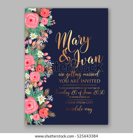 Wedding invitation printable template floral wreath stock vector wedding invitation printable template with floral wreath or bouquet of rose flower and daisy romantic pink stopboris Image collections