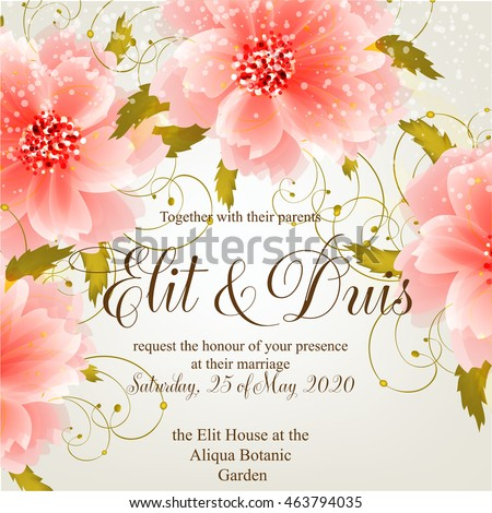 Wedding invitation sample with wreath of beautiful flower and design wording.