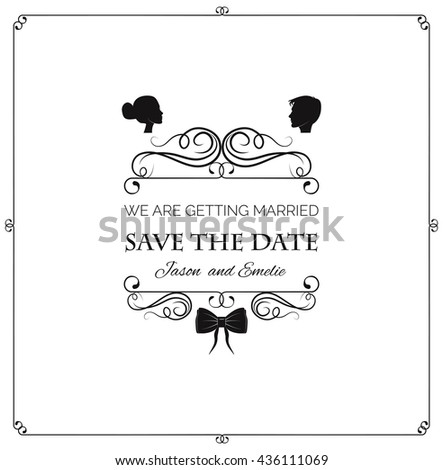Wedding invitation. Save the date. Bride and groom silhouette. Wedding couple and bow tie. Vintage elements and page decoration. Ornate frames and scroll element. Vintage filigree and divider swirl.  - stock vector