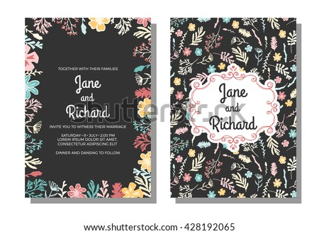 Wedding invitation, save the date cards. Vector illustration, wildflowers, berries and moss on dark background. Invitation with floral pattern and freehand classic frame - stock vector