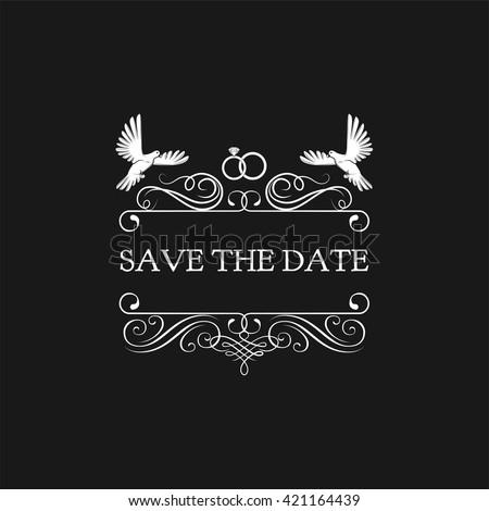 Wedding invitation. Save the date. pigeon, dove, ring. Filigree divider ornate frame. Vector illustration on white background. - stock vector