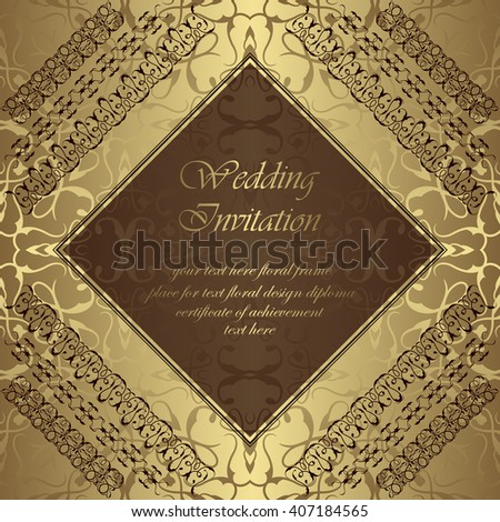 Wedding invitation. Seamless Background. Vintage frame with ribbons. Golden wallpaper