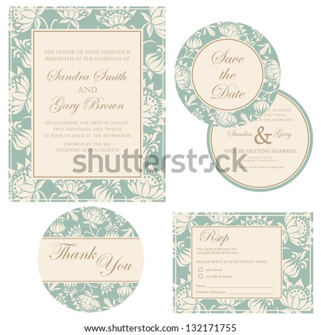 Wedding invitation set (thank you card, save the date card, RSVP card) - stock vector