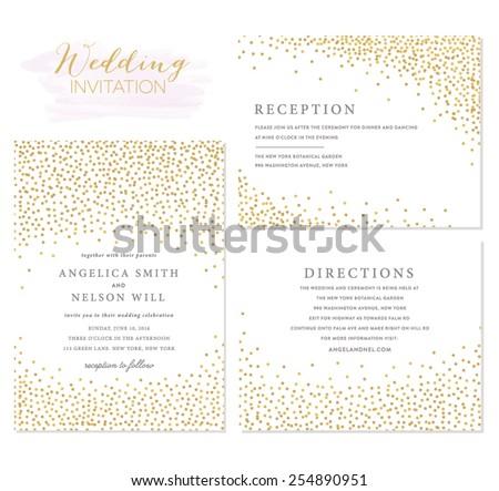 Wedding invitation Set with Confetti Design - stock vector