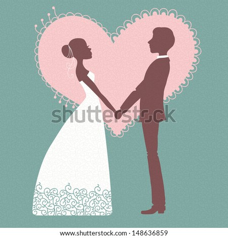 Wedding invitation. Silhouette of bride and groom. Vector illustration. - stock vector