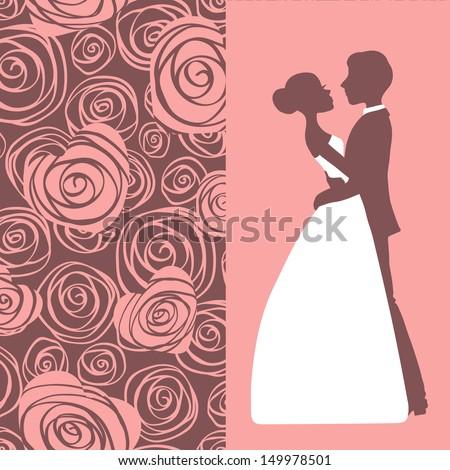 Wedding invitation. Silhouette of bride and groom. Vector illustration. - stock vector