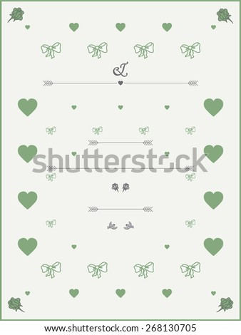 Wedding Invitation template in pastel colours with roses, hearts and birds.