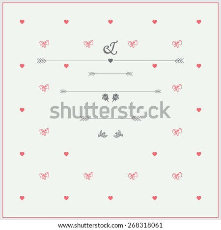 Wedding Invitation template in pastel colours with roses, hearts and birds. - stock vector
