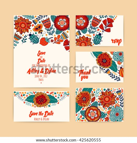 Wedding Invitation Template Invitation Envelope Thank Stock Vector