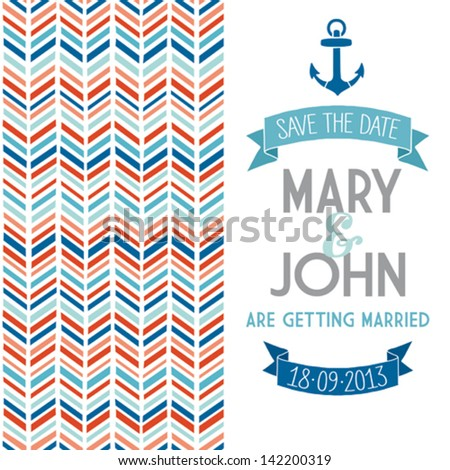 Wedding invitation template, nautical style