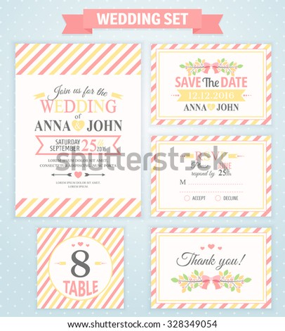 Wedding invitation template thank you card stock vector 328349054 wedding invitation template thank you card save the date rsvp card wedding stopboris Choice Image
