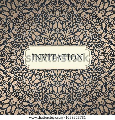 Wedding Invitation Template Vintage Invitation Card Stock Vector