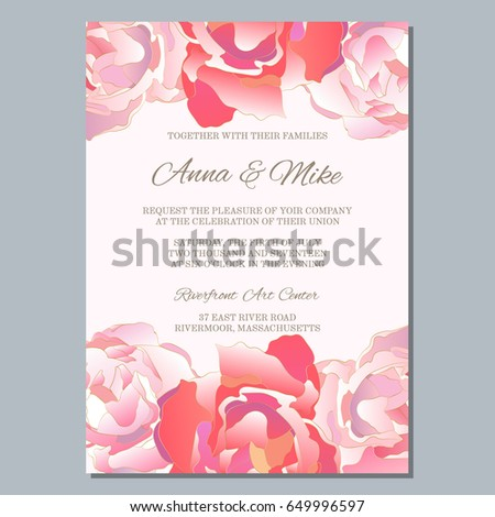 wedding invitation template roses thank you stock vector 649996597