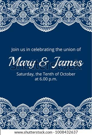 wedding invitation template white lace border ベクター画像素材