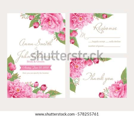 Wedding Invitation Card Suite Flower Templates Vector – Design Invitation Cards