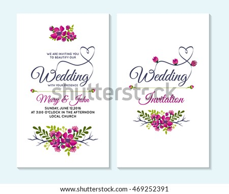 wedding invitation thank you card save stock vector 469252391