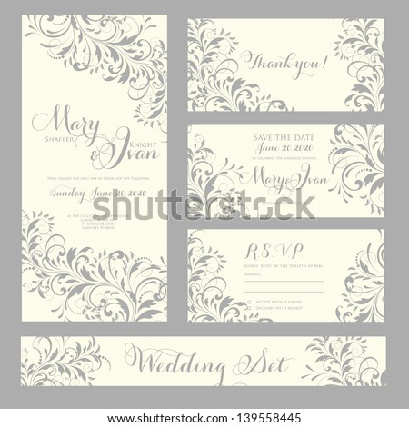 Wedding invitation, thank you card, save the date cards. Wedding set - stock vector