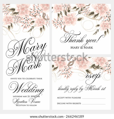 Wedding invitation, thank you card, save the date cards. Wedding set. RSVP card - stock vector