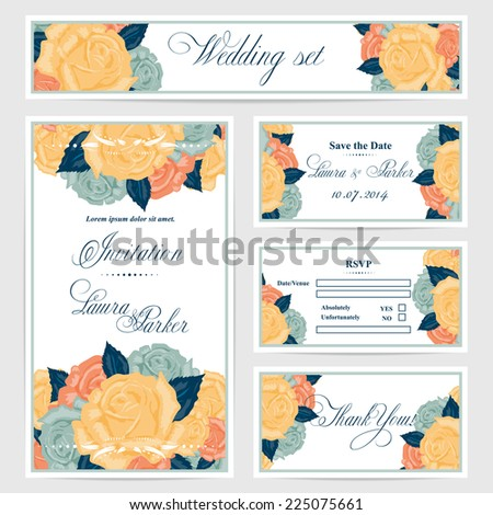 Wedding invitation, thank you card, save the date cards. Wedding set. RSVP card.Vector flower,roses - stock vector