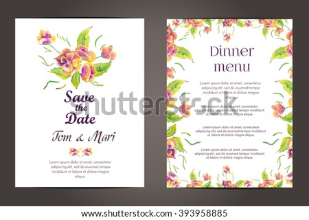 Wedding invitation vector cards set.Flower wedding invitation card, save the date card. Wedding floral template collection.Wedding invitation with flowers in pink colors. Wedding invitation banner. - stock vector