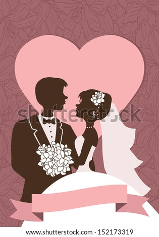Wedding invitation. Vector wedding invitation card with floral elements and silhouettes of couple  - stock vector