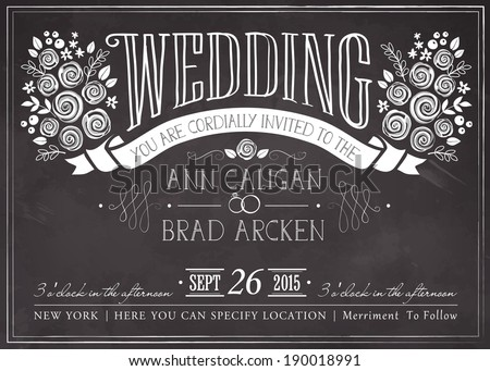 Wedding invitation vintage card. Freehand drawing on the chalkboard - stock vector