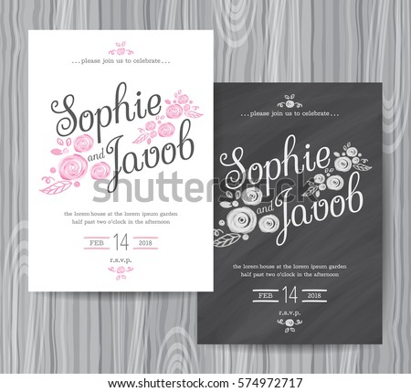 Wedding Invitation Vintage Card Freehand Flower Stock Vector ...