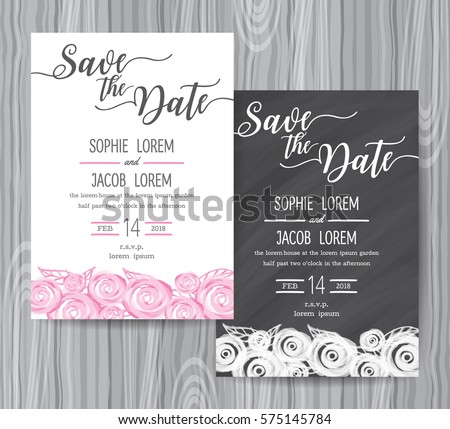 Wedding Invitation Vintage Card Freehand Flower Stock Vector (2018 ...