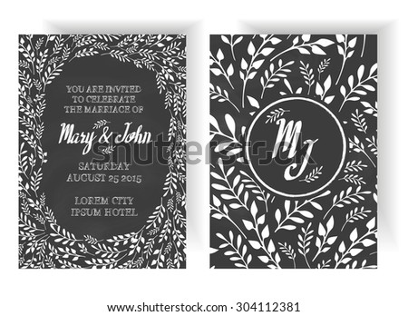 Wedding Invitation Vintage Typographic Background On Blackboard With Floral Design Elements - stock vector