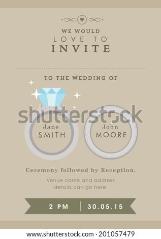Wedding invitation wedding ring themes - stock vector